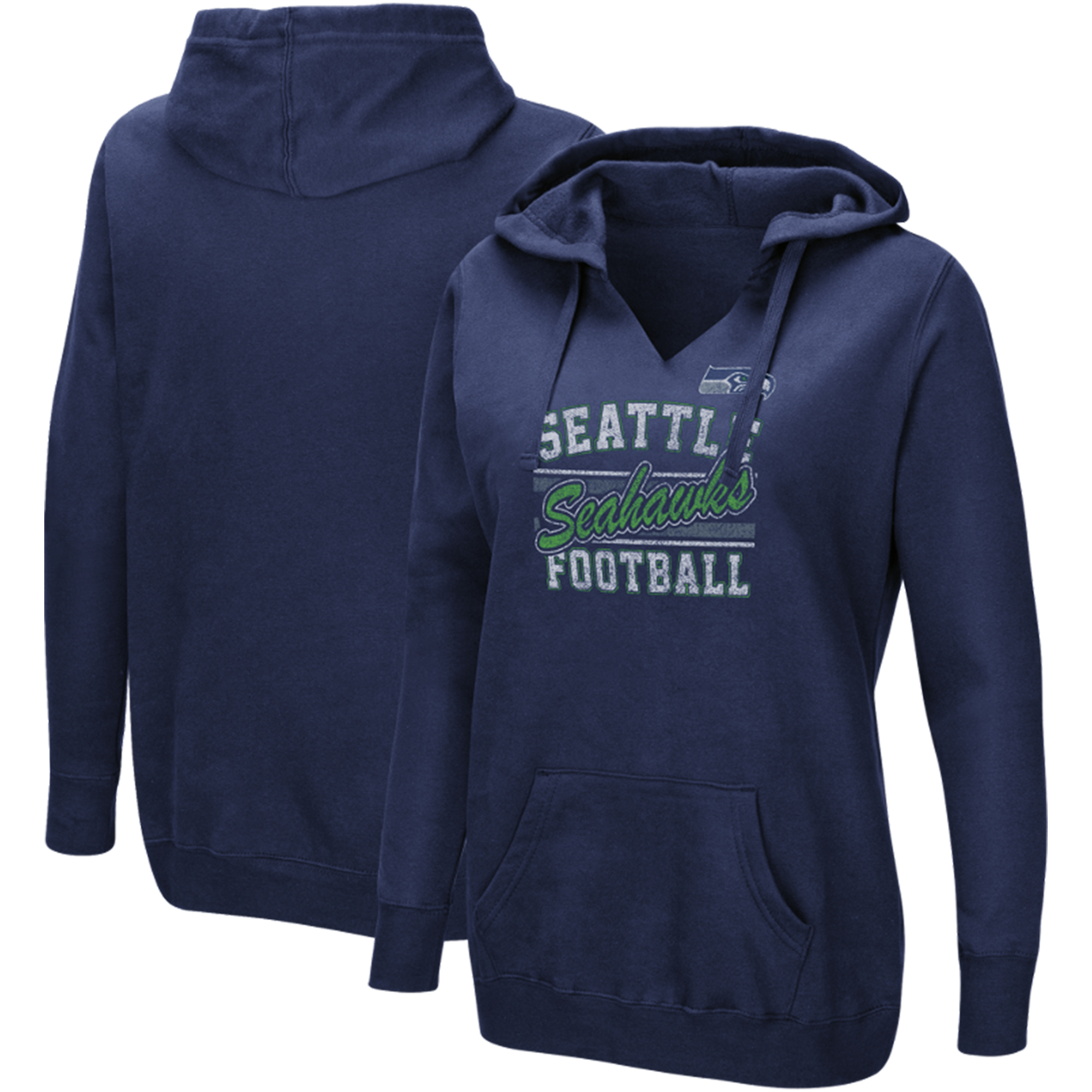 Seattle Seahawks Majestic Women's Quick Out V-Neck Hoodie - College Navy