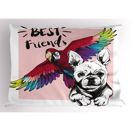 Modern Pillow Sham French Bulldog and Tropical Parrot Figure with Best Friends Phrase Portrait Design, Decorative Standard Queen Size Printed Pillowcase, 30 X 20 Inches, Multicolor, by (Best Figure Size In Bollywood)