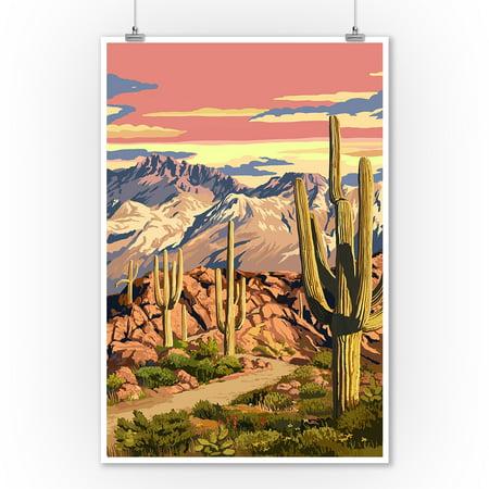 Desert Cactus Trail Scene at Sunset - Lantern Press Artwork (9x12 Art Print, Wall Decor Travel Poster)](Desert Scenes)