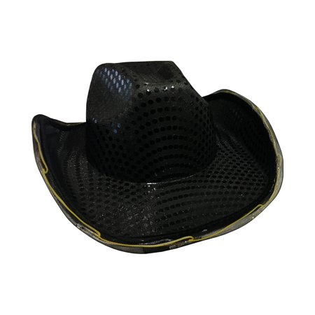 Urban Cowboy Hats (Adults Light Up Sequin Black Urban Cowboy Hat Costume Accessory)