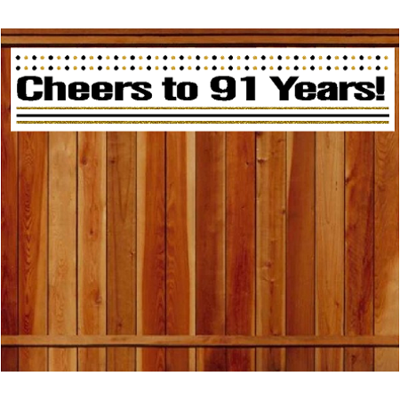 Item#091CIB 91st Birthday / Anniversary Cheers Wall Decoration Indoor / OutDoor Party Banner (10 x 50inches) - Cheers Banner
