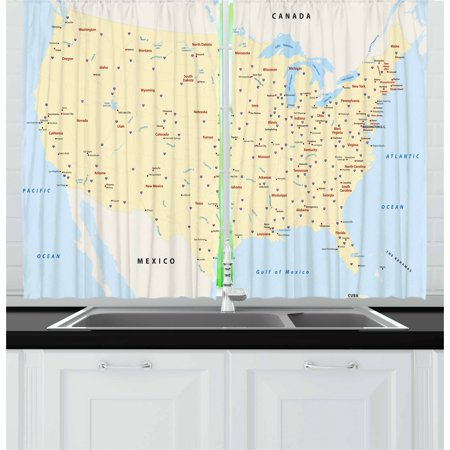 Map Curtains 2 Panels Set, United States Interstate Map America Cities Travel Destinations Road Route, Window Drapes for Living Room Bedroom, 55W X 39L Inches, Yellow Red Pale Blue, by