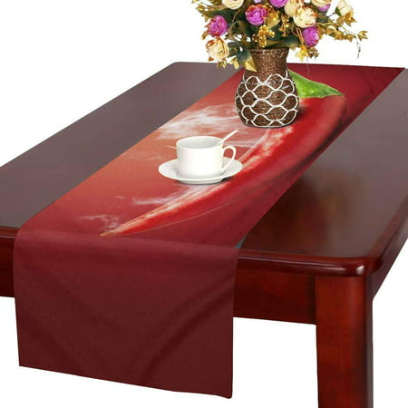 MKHERT Funny Food Hot Chili Pepper in Smoke Table Runner Home Decor for Home Kitchen Dining Wedding Party 16x72 Inch