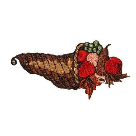 ID 1256 Cornucopia Fruit Patch Harvest Thanksgiving Embroidered Iron On Applique