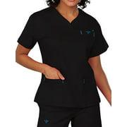 MedCouture Women's Sport Neckline Scrub Top, Black/Pacific, Medium