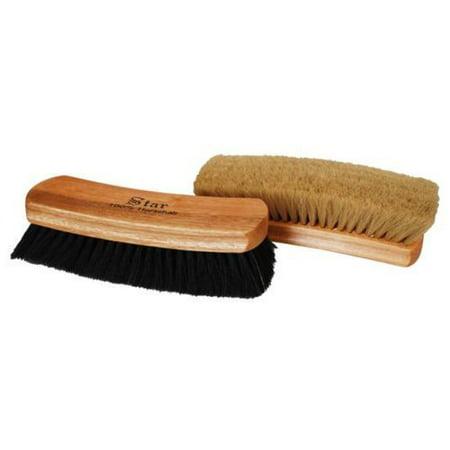 Professional Quality Large Shoe Shine Buffing Brush 100  Horse Hair Wood Handle