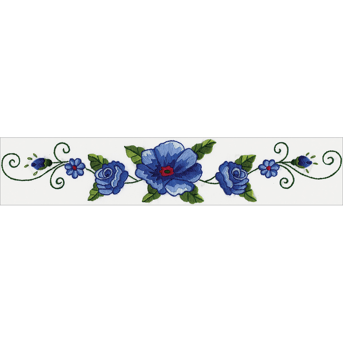 """Tobin Stamped For Embroidery Pillowcase Pair 20""""X30""""-Blue Rose"""
