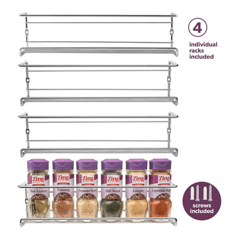 Spice Rack Wall Mount Pantry Cabinet Door Organizer By
