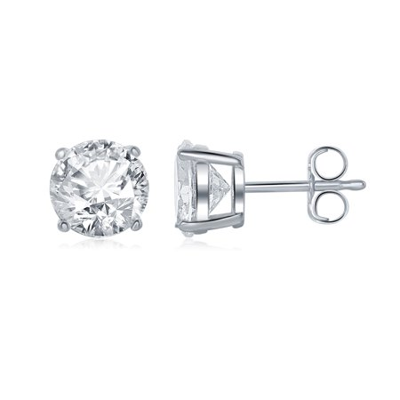 Sterling Silver 925 Round Cubic Zirconia CZ 8mm Stud Earrings Silver Butterfly Pushbacks