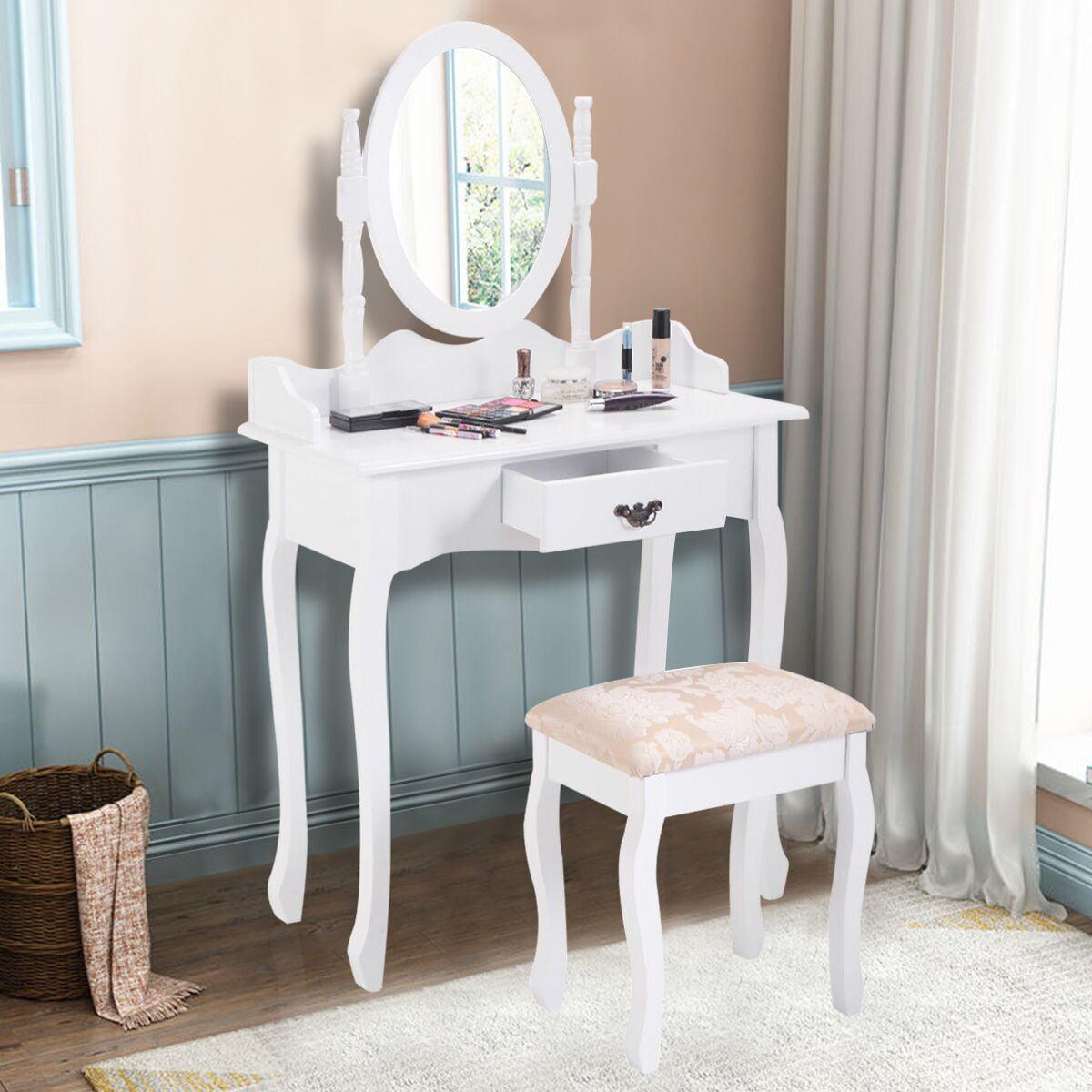 Costway Vanity Wood Makeup Dressing Table Stool Set Jewelry Desk W  Drawer &Mirror bathroom White by Costway
