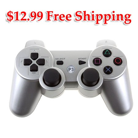- PKPOWER Bluetooth Wireless Vibration Game Controller for Sony PS3 with charge cable cord Silver