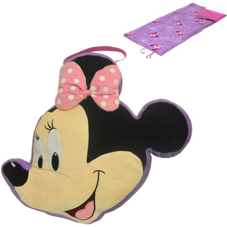 Disney Minnie Mouse On The Go Pillow And Sleeping Bag Set