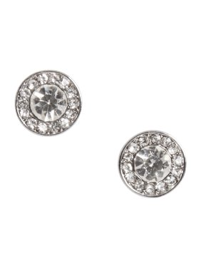 Diamond Button Stud Earrings