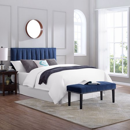 low priced 6cdc3 55328 Channeled Upholstered Full / Queen Headboard and Bench Set in Sapphire Blue