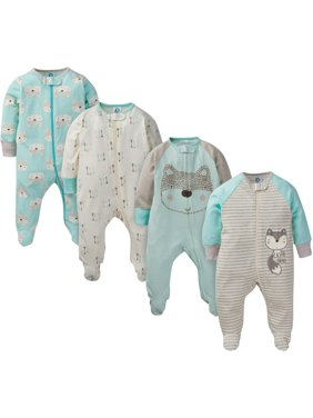 Gerber Newborn Baby Boy Sleep 'N Play Pajamas, 4-Pack (Preemie-9M)