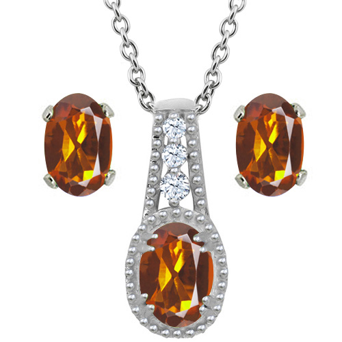 1.58 Ct Oval Orange Red Madeira Citrine 14K White Gold Pendant Earrings Set by