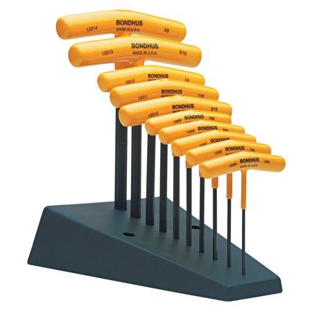Bondhus T-Handle Hex Tool Sets, 10 per stand, Hex Tip, Inch ()