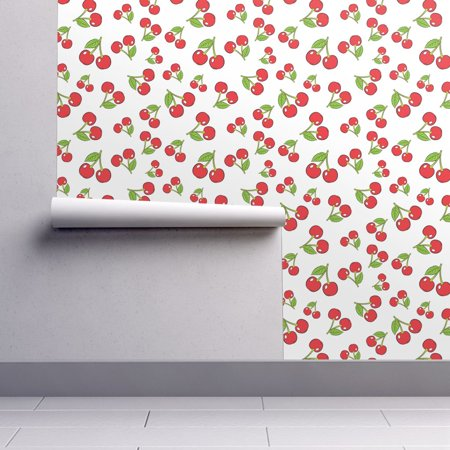 Cherry Wallpaper - Removable Water-Activated Wallpaper Cherry Sketchy Cherries Vintage Home Decor