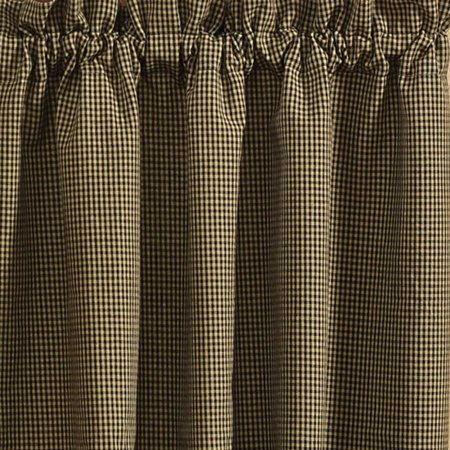 """Black and Tan Checked Curtain Tiers Country Star by Park Designs 24"""" and 36"""""""