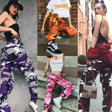 Fashin Womens Camo Cargo Trousers Casual Pants Military Army Combat Camouflage Jeans