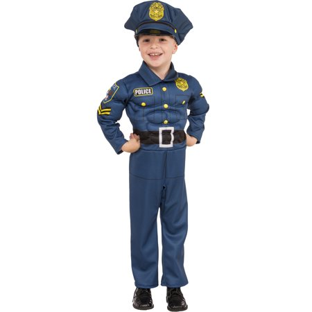 Top Cop Boy Child Muscle Chest Police Blue Uniform Halloween - Cops Couple Costumes