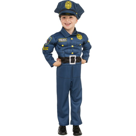 Cheerleading Uniforms Costumes (Top Cop Boy Child Muscle Chest Police Blue Uniform Halloween)