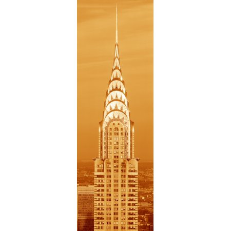 This is a sepiatone close up of the Chrysler Building at sunset It is the view from 42nd Street and 5th Avenue Poster (42nd Street 6th Avenue)
