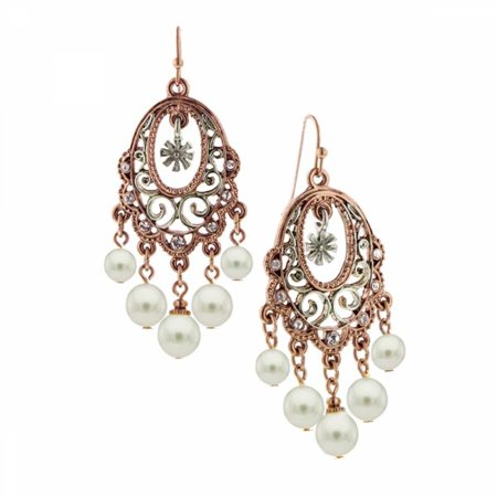 1928 Jewelry Pink Champagne Ornate Chandelier Earrings