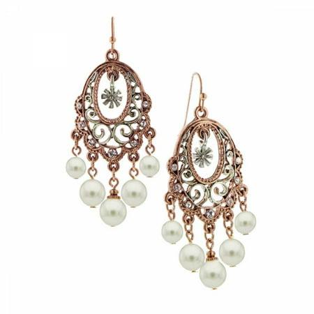 1928 Jewelry Pink Champagne Ornate Chandelier Earrings