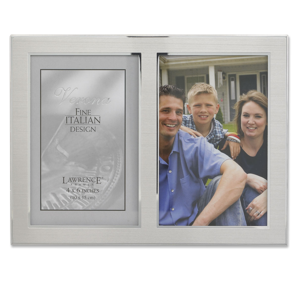 Brushed Silver Metal and Shiny Metal Two Tone 4x6 Hinged Double Opening Panel