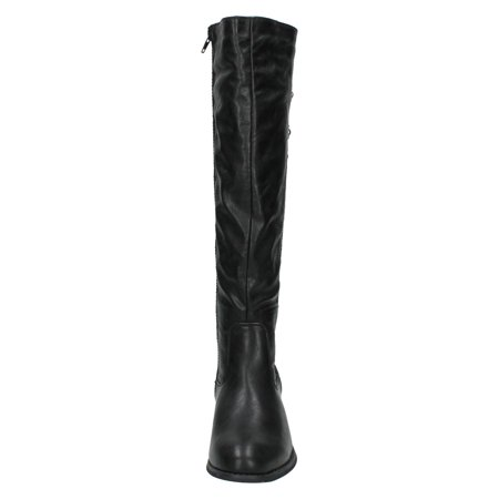 Spot On Womens/Ladies Mid Heel High Leg Boots With Button Detail - image 1 of 6