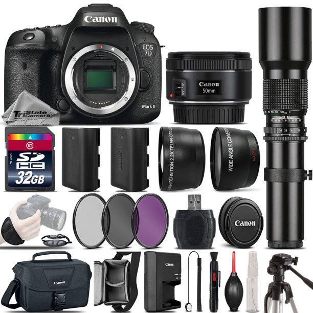 Canon EOS 7D Mark II DSLR GPS Camera + 50mm 1.8 STM + 500mm Telephoto - 32GB Kit