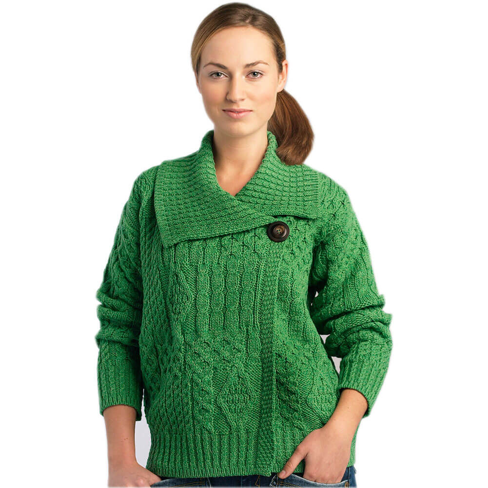 Irish Wool Sweater for Women, 100% Pure New Wool, Made in Ireland, Green, Medium by