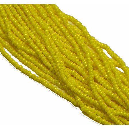Yellow Opaque Preciosa Czech Glass 6/0, Loose Seed Beads, on Loose Strung 6 String Hank](Yellow Beads)