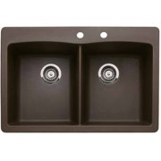 """Blanco 441285-2 Diamond 22"""" X 33"""" Double-Basin Granite Drop-In Or Undermount 2-Hole Residential Kitchen Sink, Available in Various Colors"""