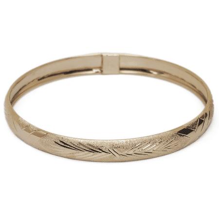 10k Yellow Gold bangle bracelet Flexible Round with Diamond Cut Design (0.24)