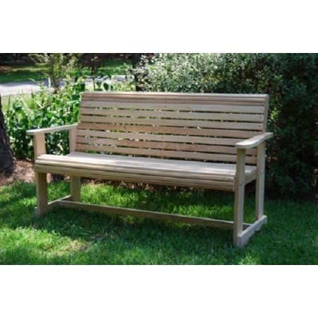 Home Outdoor Back Yard Patio Garden Lawn Rolled Front & Back Contoured Rot-Resistant Cypress Patio 3Ft Roll Bench