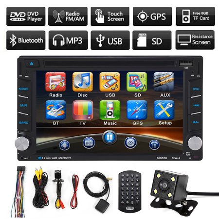 Jeobest In-Dash Double-Din DVD/VCD/RM/Bluetooth Receiver with 6.2 inch Touch Screen,Built-In GPS Navigation Function + Backup Camera + Free 8G Map Card(2017 Updated Version)