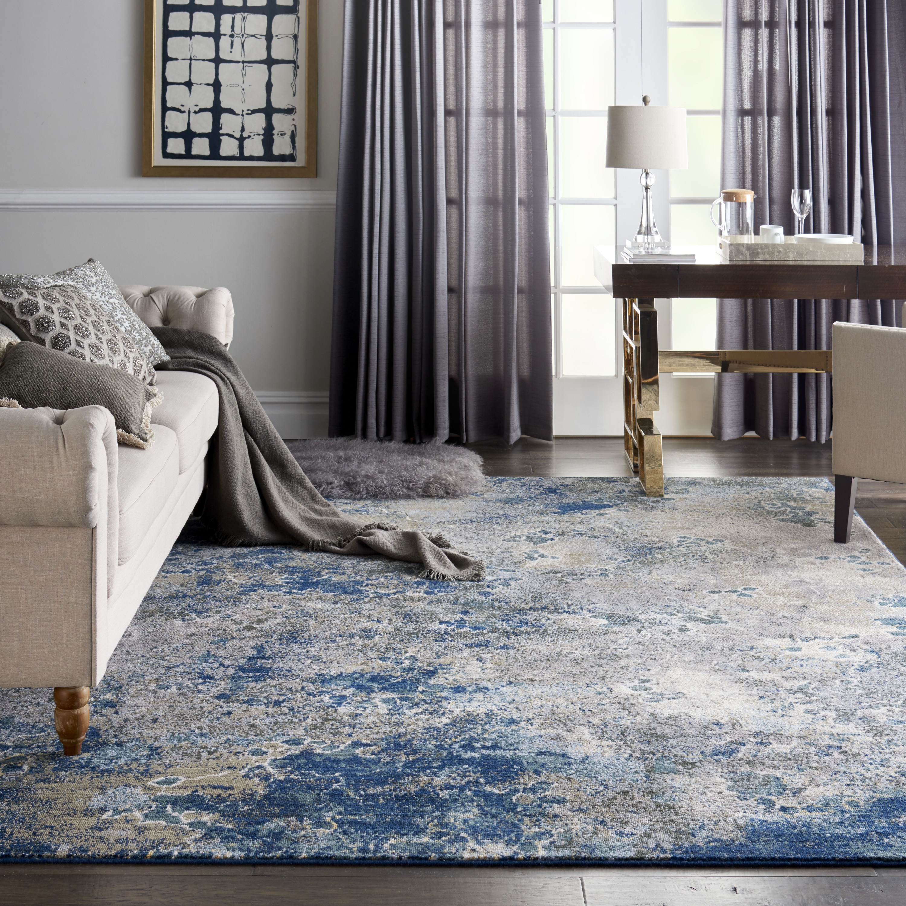 Picture of: Nourison Artworks Abstract Abstract Blue Grey Area Rug Walmart Com Walmart Com