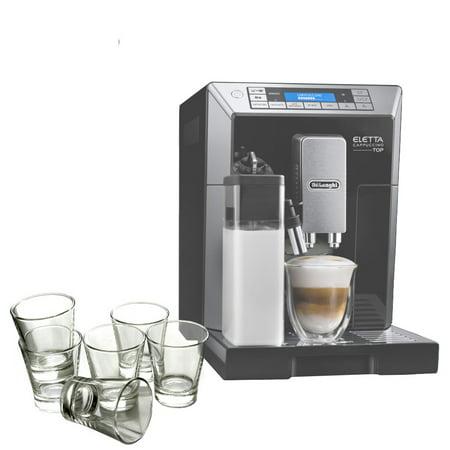 DeLonghi Eletta Black Cappuccino Top Digital Super Automatic Machine with 6 Piece Espresso Glass (Best Delonghi Super Automatic Espresso Machine)