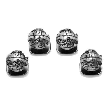 CUFFLINKS INC Mens 3D Death Star II Studs (Silver) - Modern Jewelry Accessory