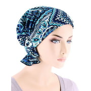 Turban Plus The Abbey Cap ® Womens Chemo Hat Beanie Scarf Turban for Cancer Blended Knit Bali Blue