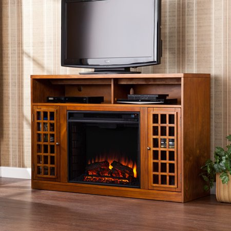 Southern Enterprises Chenault Electric Fireplace and Media Console for TVs up to 46;, Glazed Pine