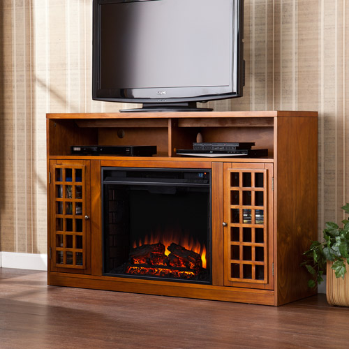 "Southern Enterprises Chenault Electric Fireplace and Media Console for TVs up to 46"", Glazed Pine"