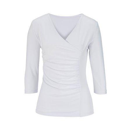 EDWARDS LADIES' 3/4 SLEEVE CROSSOVER KNIT TOP