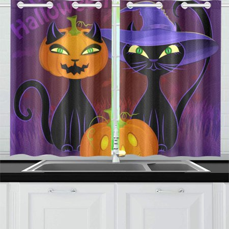 Halloween Movie Curtis (MKHERT Halloween Night Window Curtain Kitchen Curtain 26x39 inch,Two)