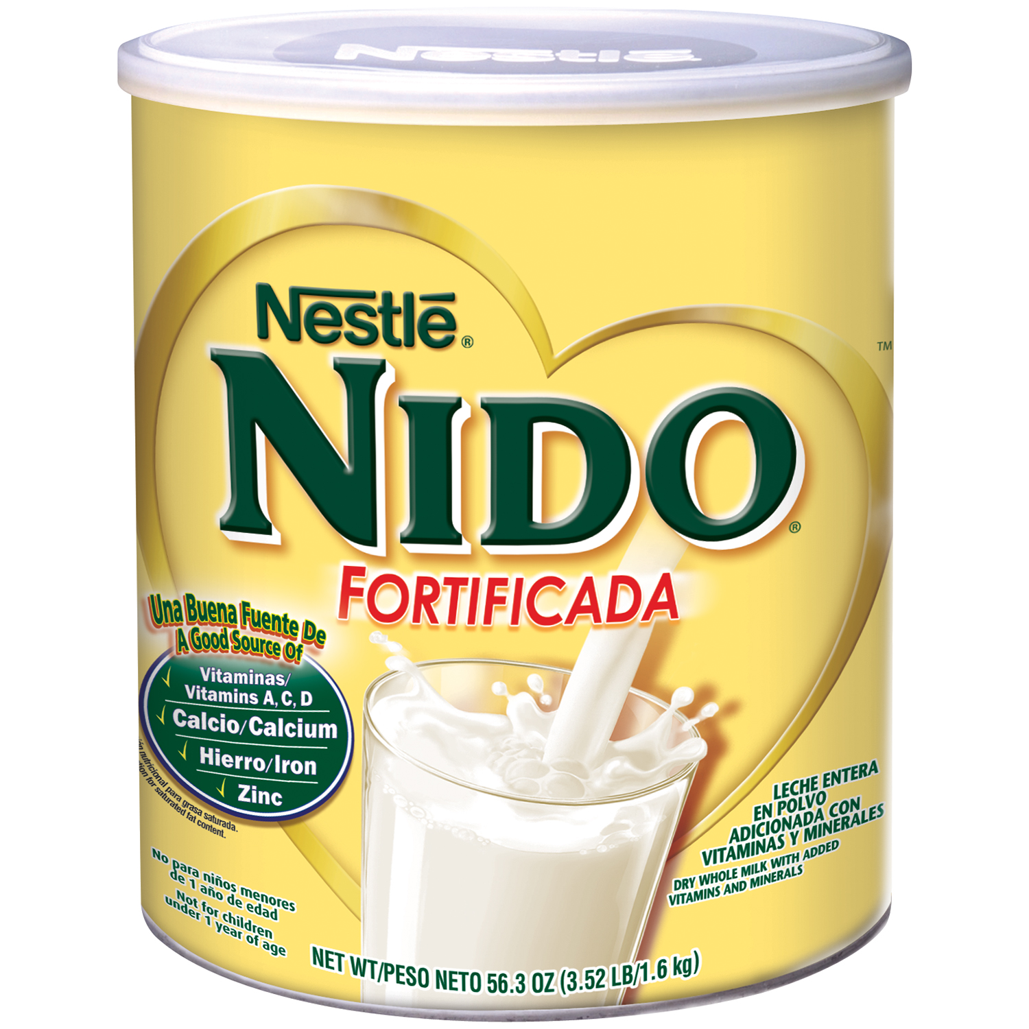 NESTLE NIDO Fortificada Dry Whole Milk, 6 - 56.3oz Canisters