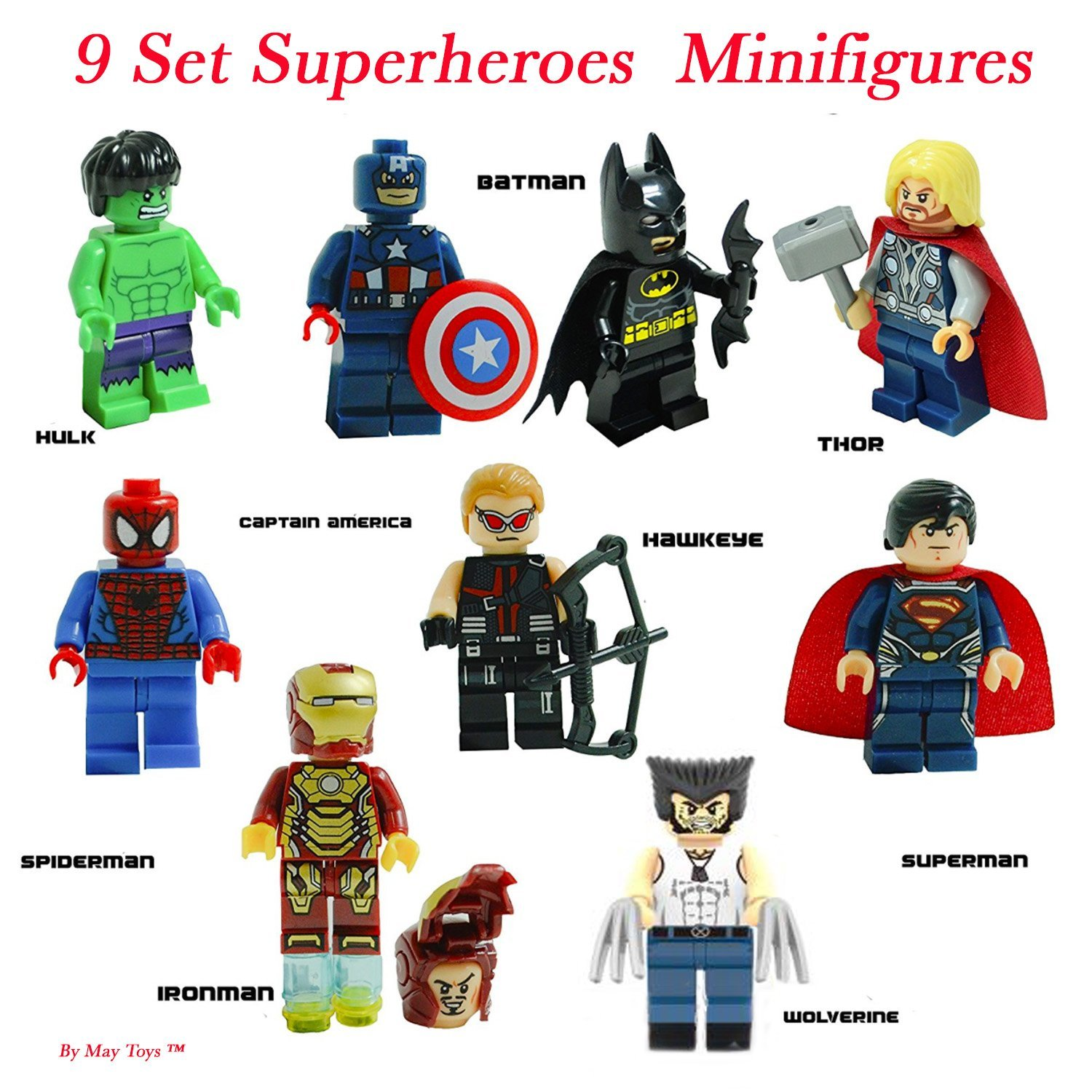 Super Heroes Figures, 9 Set Super Heroes Marvel & DC Avengers Mini Figures include Batman, Spiderman, Ironman, Thor, Superman, Wolverine, Captain America, Hawkeye, and The Hulk. Mini Figures Toys