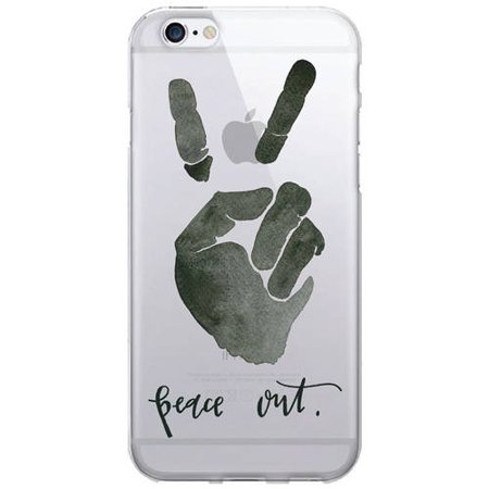 OTM Artist Prints Clear Phone Case for Apple iPhone 6/6S, Peace Out 1 In/2 Out Phone