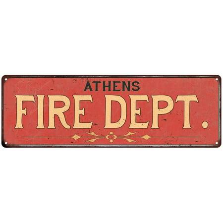 ATHENS FIRE DEPT. Vintage Look Metal Sign Chic Decor Retro (Athens Department Store)